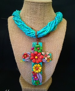 Turquoise Clay Cross Neckace