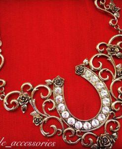 Large Horseshoe & Rose Necklace ( Gold