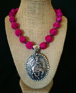 Rose & Bucking Bronco Concho Necklace