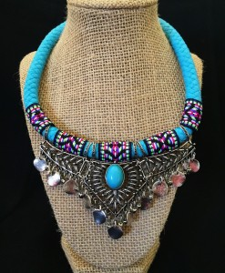Turquoise & Colorful Fabric Coin Necklace
