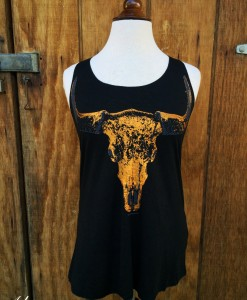 black & metallic gold bull skull tank top