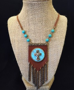 Turquoise & Cross Leather Necklace