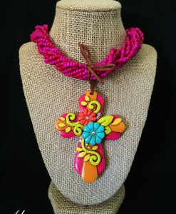 Magenta Seed Beaded & 2 Flower Cross Clay Pendant Necklace