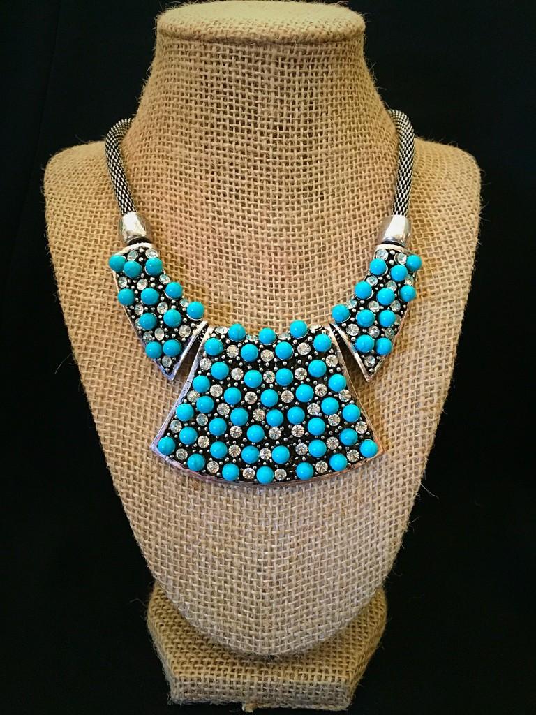 "Turquoise ""3D"" Circle & Rhinestone Necklace"