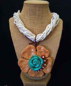 Flower Clay Pendant Necklace