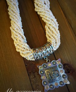 White Seed Beaded & Praying Cowboy Square Concho Necklace