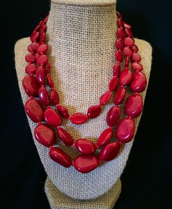 Rocky Layered Necklace ( Red )