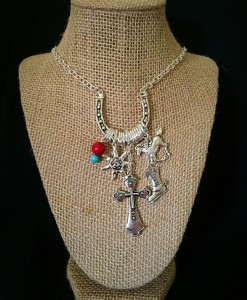 Silver Horseshoe & Charm Necklace