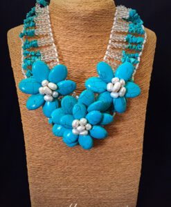 Triple Turquoise & White Flower Statement Necklace