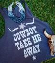 Cowboy Take Me Away Gray Tank Top