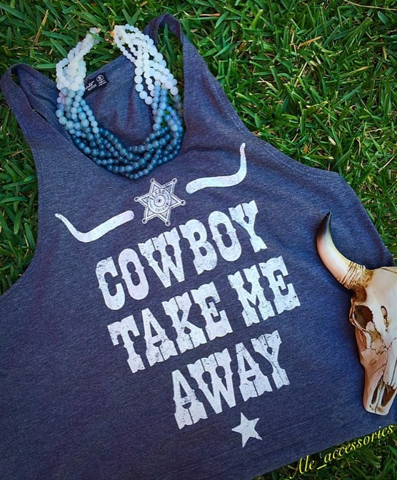 Cowboy Take Me Away Gray Tank Top