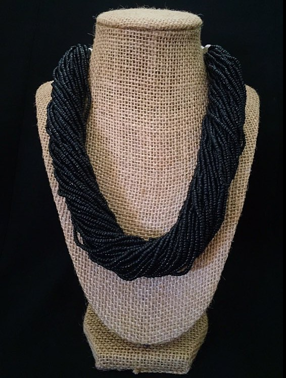 Chunky Seed Beaded Black Necklace