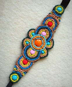 Large Flower Beaded Headband Multi Color