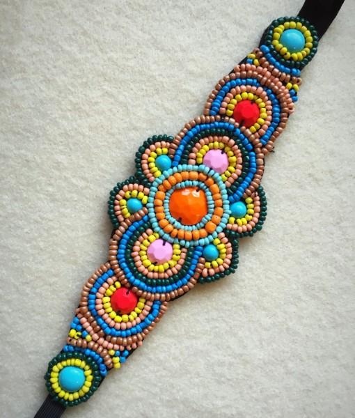 Large Flower Beaded Headband Multi Color
