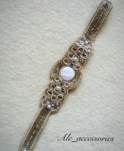 "Gold & Pearl Beaded Headband "" Elsa """