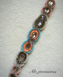 """Sonia "" Melon & Multi Color Beaded Headband"
