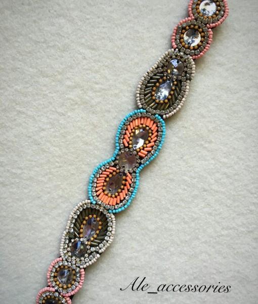 """Sonia "" Melon & Multi Color Beaded Headband"