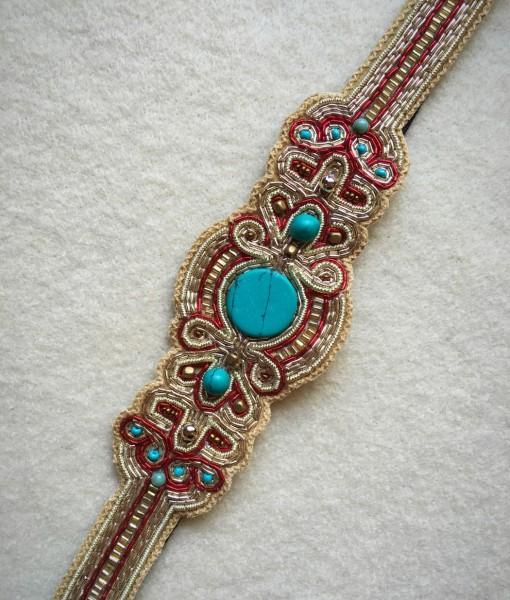 Elsa Turquoise & Red Beaded Headband