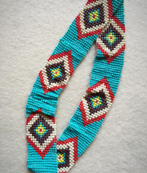 Diamond Shaped Beaded Headband/ Hatband