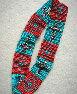 Turquoise & Coral Cross Beaded Headband