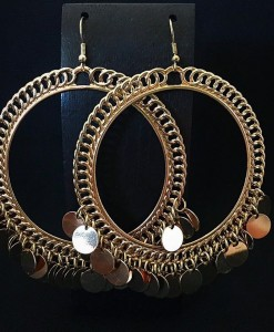 Round Coin Drop Earrings