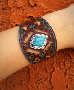 Turquoise & Brown Native Design Bracelet