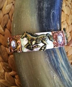 Horse & Pearl Bracelet ( Triple Tone )