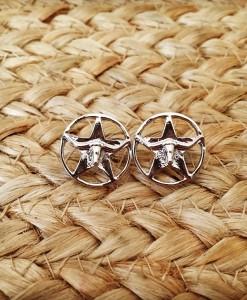 Longhorn Star Stud Earring ( Silver )