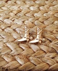 Gold Boots Stud Earrings