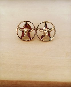 Longhorn Star Stud Earrings ( Gold )