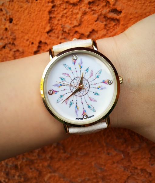 Multi Feather Dream Catcher Face Watch ( Cream )