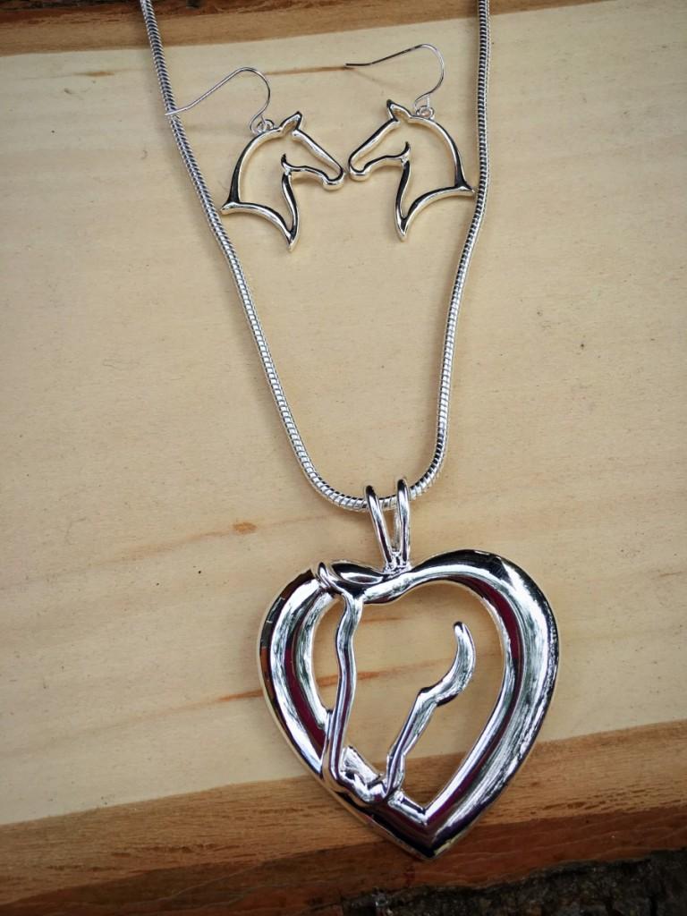 Horse Love Necklace set ( Silver )