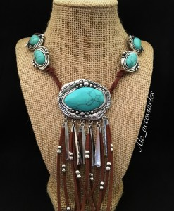 Turquoise & Brown Leather Tassel Necklace Set