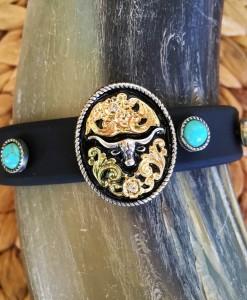 Black Rubber & Turquoise Longhorn Bracelet