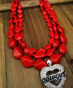 Rocky Red Layered & Cowgirl Heart Pendant Necklace