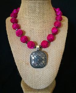 Rose & Square Concho Necklace