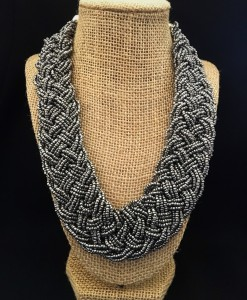 Classic Metallic Gray Braided Bead Necklace