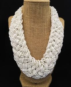 Classic Braided Bead Necklace ( White )