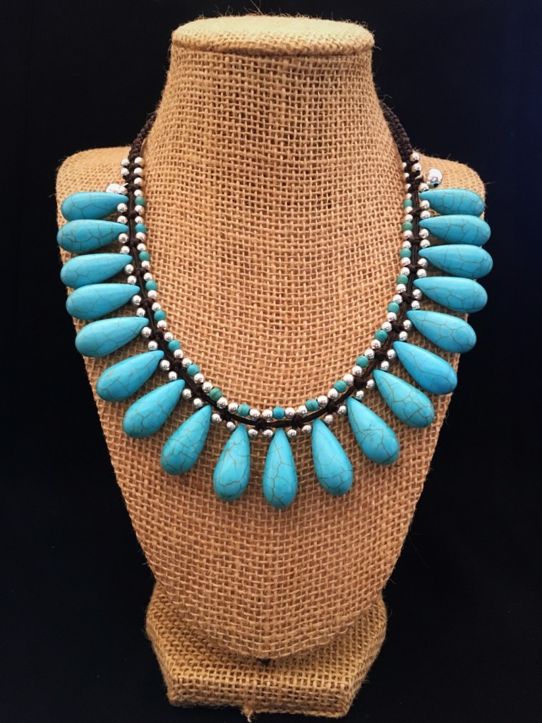 Classic Turquoise Stone Teardrop Necklace