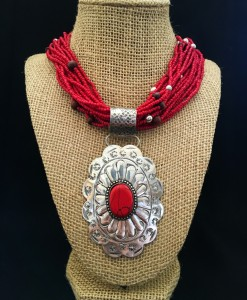 Seed Bead & Oval Concho Pendant Necklace