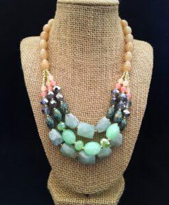 Semi Precious Stone Necklace Natural & Mi