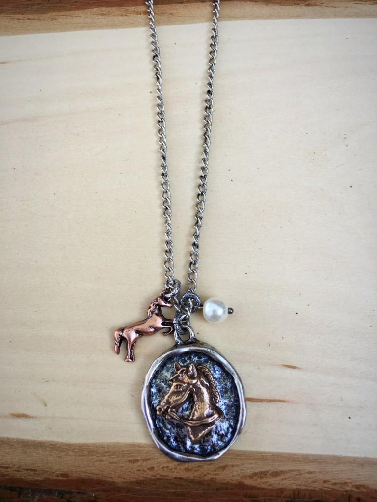 Hammered Horse & Charm Necklace Set