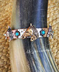 Triple Tone Horse Bracelet