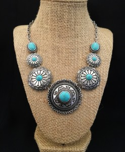 Turquoise & Antique Silver Round Concho Necklace