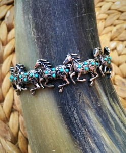 Running Horse Stretch Bracelet  ( Silver, Turquoise )