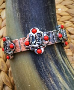 Antique Silver & Red Stone Boot Bracelet