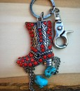Red & Turquoise Boot Keychain
