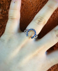 Blue Rhinestone Horseshoe Ring