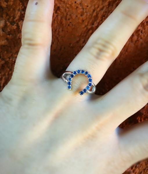 Blue Rhinestone Horseshoe Ring