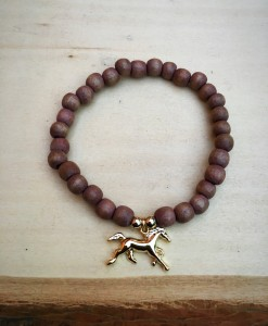 Handmade Brown & Gold Horse Bracelet